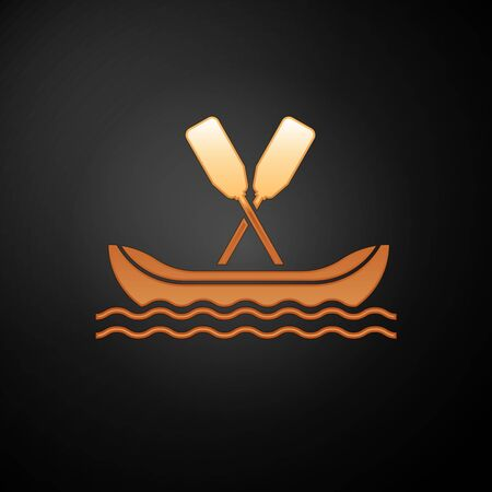 Gold Rafting boat icon isolated on black background. Kayak with paddles. Water sports, extreme sports, holiday, vacation, team building. Vector Illustration Çizim
