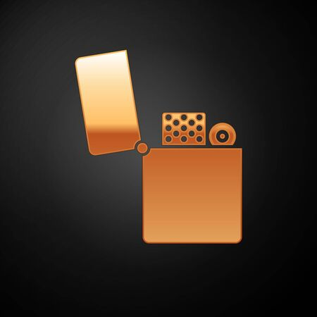 Gold Lighter icon isolated on black background. Vector Illustration
