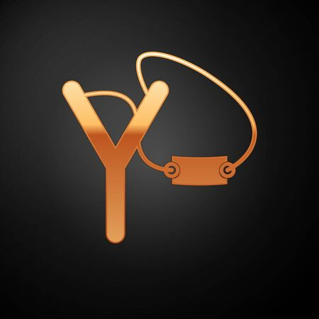 Gold Slingshot icon isolated on black background. Vector Illustration