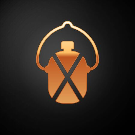 Gold Canteen water bottle icon isolated on black background. Tourist flask icon. Jar of water use in the campaign. Vector Illustration
