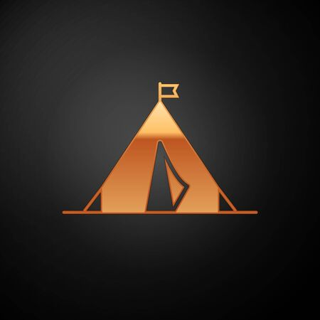Gold Tourist tent with flag icon isolated on black background. Camping symbol. Vector Illustration