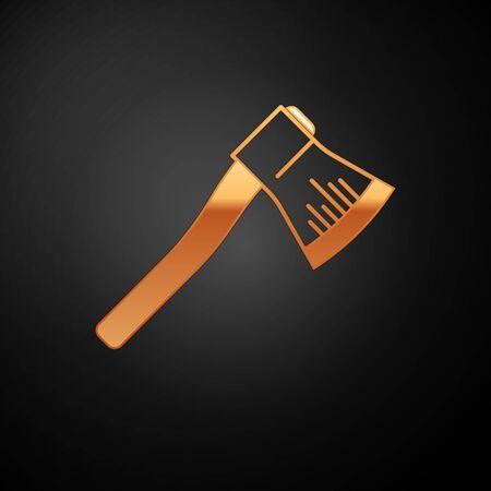 Gold Wooden axe icon isolated on black background. Lumberjack axe. Vector Illustration