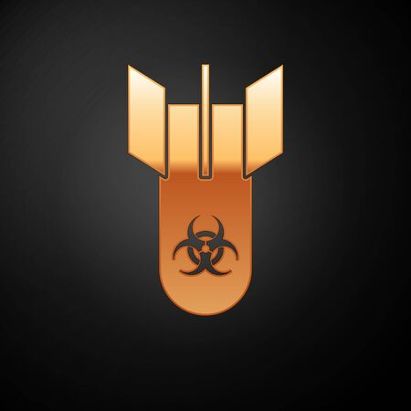 Gold Biohazard bomb icon isolated on black background. Rocket bomb flies down. Vector Illustration