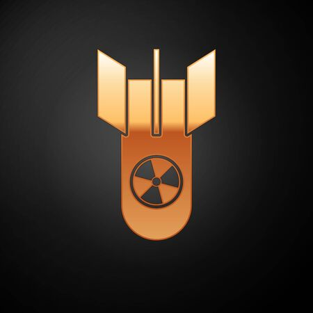 Gold Nuclear bomb icon isolated on black background. Rocket bomb flies down. Vector Illustration
