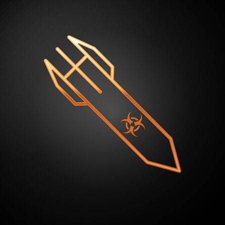 Gold Biohazard rocket icon isolated on black background. Rocket bomb flies down. Vector Illustration  イラスト・ベクター素材