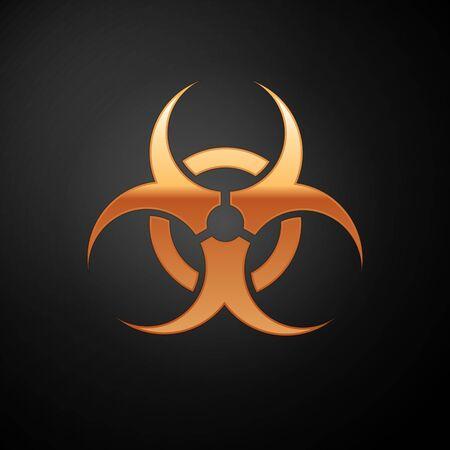 Gold Biohazard symbol icon isolated on black background. Vector Illustration