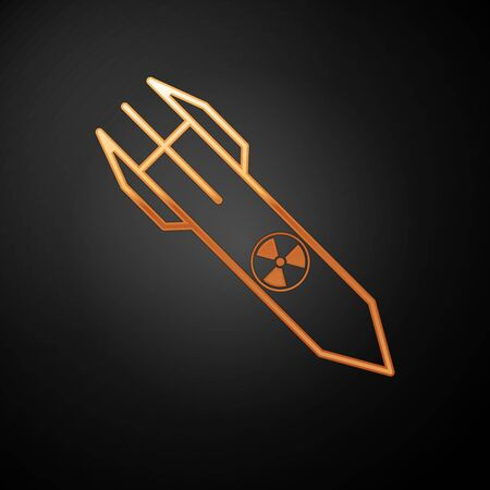 Gold Nuclear rocket icon isolated on black background. Rocket bomb flies down. Vector Illustration Çizim