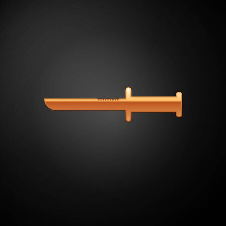 Gold Military knife icon isolated on black background. Vector Illustration Иллюстрация