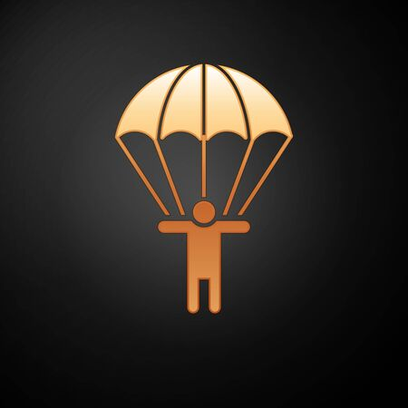 Gold Parachute and silhouette person icon isolated on black background. Vector Illustration