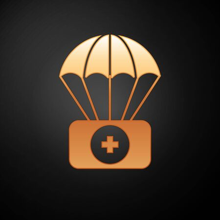 Gold Parachute with first aid kit icon isolated on black background. Medical insurance. Vector Illustration