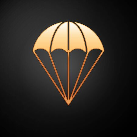 Gold Parachute icon isolated on black background. Vector Illustration Vetores