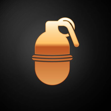 Gold Hand grenade icon isolated on black background. Bomb explosion. Vector Illustration