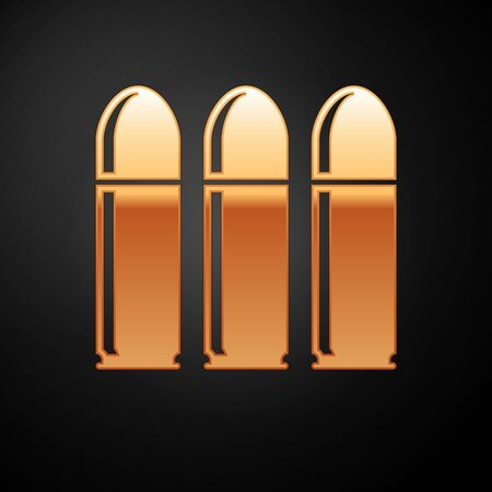 Gold Bullet icon isolated on black background. Vector Illustration