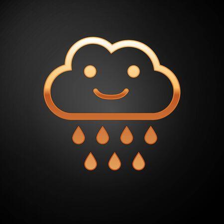 Gold Cloud with rain icon isolated on black background. Rain cloud precipitation with rain drops. Vector Illustration