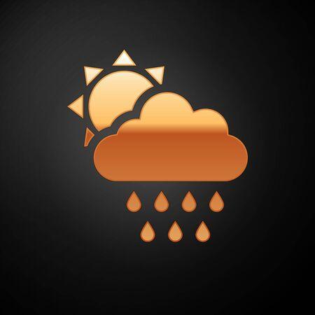 Gold Cloud with rain and sun icon isolated on black background. Rain cloud precipitation with rain drops. Vector Illustration Ilustrace