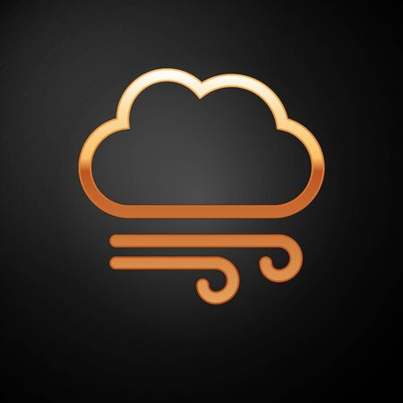 Gold Windy weather icon isolated on black background. Cloud and wind. Vector Illustration