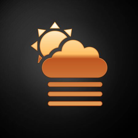 Gold Fog and cloud with sun icon isolated on black background. Vector Illustration