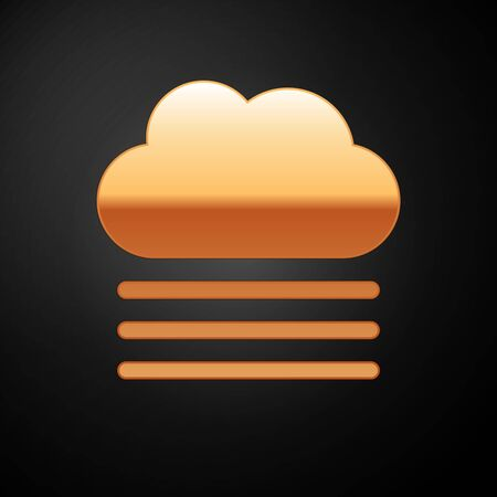 Gold Fog and cloud icon isolated on black background. Vector Illustration Иллюстрация