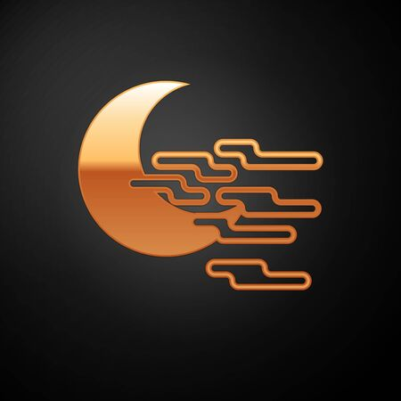 Gold Fog and moon icon isolated on black background. Vector Illustration