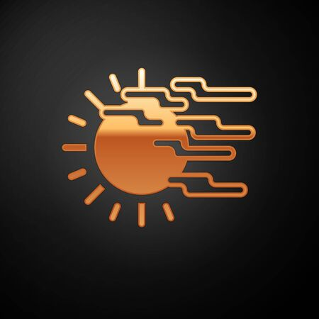 Gold Fog and sun icon isolated on black background. Vector Illustration Иллюстрация