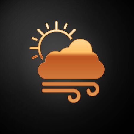 Gold Windy weather icon isolated on black background. Cloud with sun and wind. Vector Illustration Иллюстрация