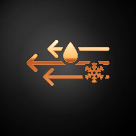 Gold Wind and rain with snow icon isolated on black background. Windy weather. Vector Illustration Иллюстрация