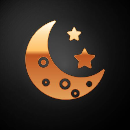 Gold Moon and stars icon isolated on black background. Vector Illustration  イラスト・ベクター素材