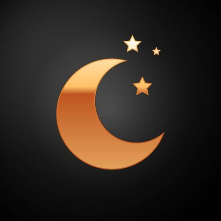 Gold Moon and stars icon isolated on black background. Vector Illustration 向量圖像