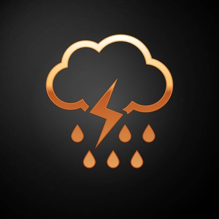 Gold Cloud with rain and lightning icon isolated on black background. Rain cloud precipitation with rain drops.Weather icon of storm. Vector Illustration Ilustrace