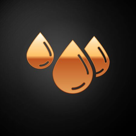 Gold Water drop icon isolated on black background. Vector Illustration