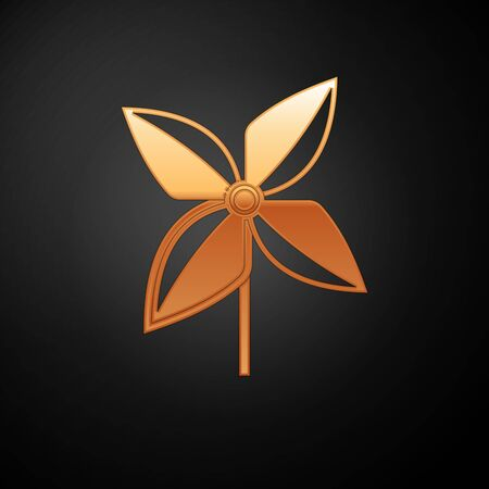 Gold Pinwheel icon isolated on black background. Windmill toy icon. Vector Illustration