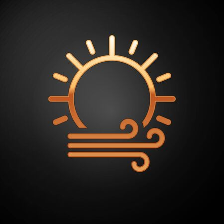 Gold Wind and sun icon isolated on black background. Windy weather. Vector Illustration Иллюстрация