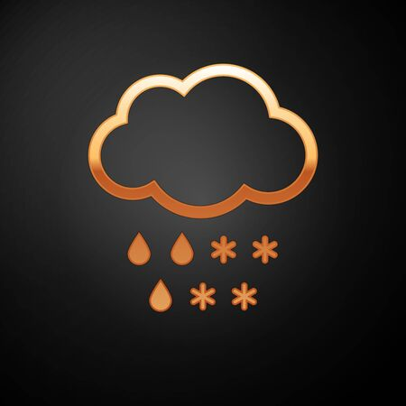 Gold Cloud with snow and rain icon isolated on black background. Weather icon. Vector Illustration