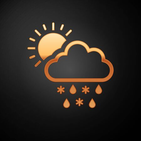 Gold Cloud with snow, rain and sun icon isolated on black background. Weather icon. Vector Illustration