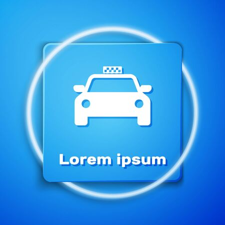 White Taxi car icon isolated on blue background. Blue square button. Vector Illustration 일러스트