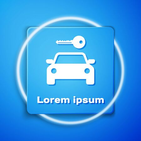 White Car rental icon isolated on blue background. Rent a car sign. Key with car. Concept for automobile repair service, spare parts store. Blue square button. Vector Illustration