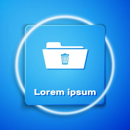 White Delete folder icon isolated on blue background. Folder with recycle bin. Delete or error folder. Close computer information folder sign. Blue square button. Vector Illustration Foto de archivo - 129942849