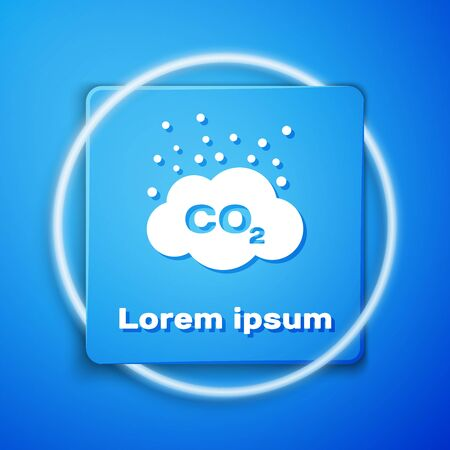 White CO2 emissions in cloud icon isolated on blue background. Carbon dioxide formula symbol, smog pollution concept, environment concept. Blue square button. Vector Illustration