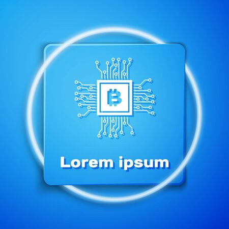 White CPU mining farm icon isolated on blue background. Bitcoin sign inside processor. Cryptocurrency mining community. Digital money. Blue square button. Vector Illustration Ilustracja
