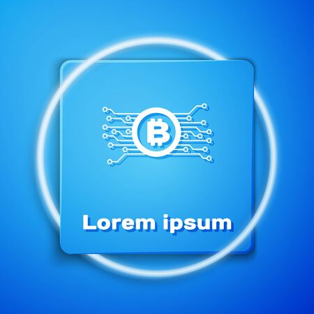 White Cryptocurrency bitcoin in circle with microchip circuit icon isolated on blue background. Blockchain technology, digital money market. Blue square button. Vector Illustration