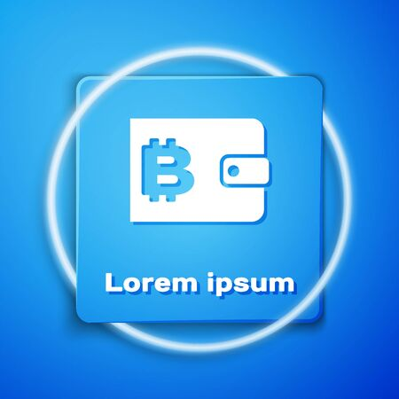 White Cryptocurrency wallet icon isolated on blue background. Wallet and bitcoin sign. Mining concept. Money, payment, cash, pay icon. Blue square button. Vector Illustration