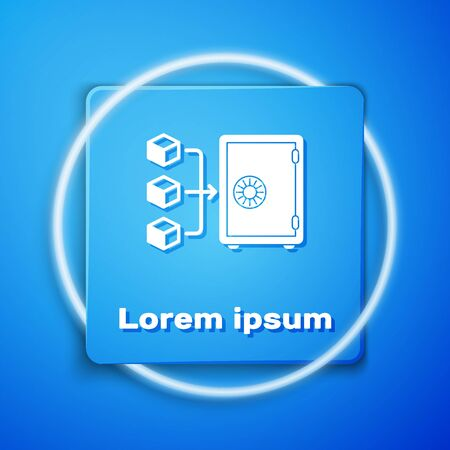 White Proof of stake icon isolated on blue background. Cryptocurrency economy and finance collection. Blue square button. Vector Illustration Ilustracja
