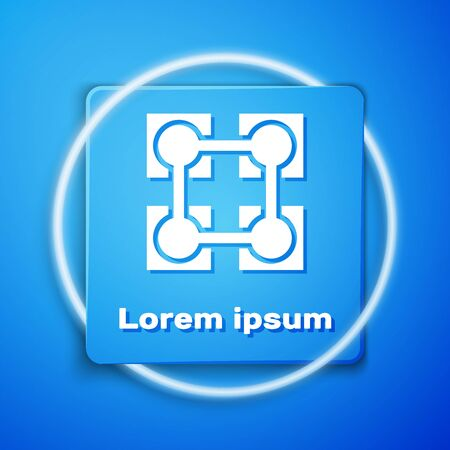White Blockchain technology icon isolated on blue background. Cryptocurrency data. Abstract geometric block chain network technology business. Blue square button. Vector Illustration