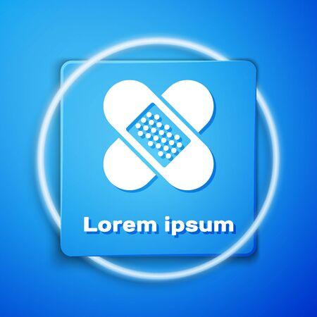 White Crossed bandage plaster icon isolated on blue background. Medical plaster, adhesive bandage, flexible fabric bandage. Blue square button. Vector Illustration