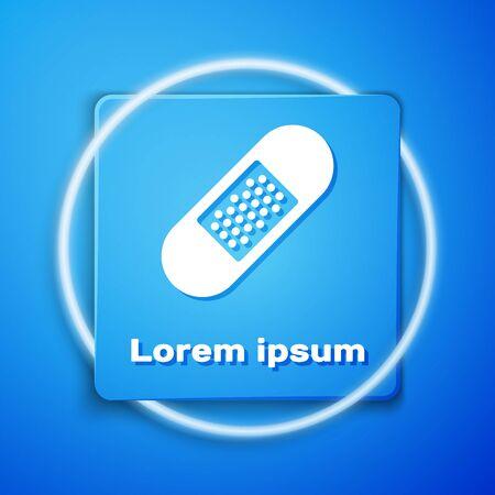 White Bandage plaster icon isolated on blue background. Medical plaster, adhesive bandage, flexible fabric bandage. Blue square button. Vector Illustration