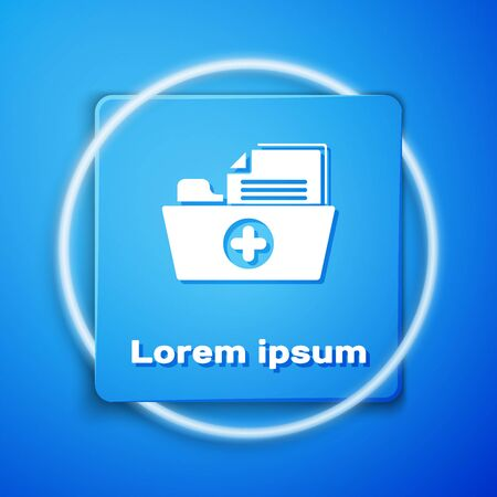White Medical health record folder for healthcare icon isolated on blue background. Patient file icon. Medical history symbol. Blue square button. Vector Illustration  イラスト・ベクター素材