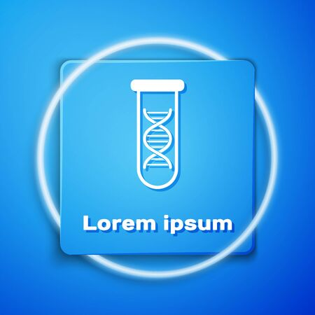 White DNA research, search icon isolated on blue background. Genetic engineering, genetics testing, cloning, paternity testing. Blue square button. Vector Illustration