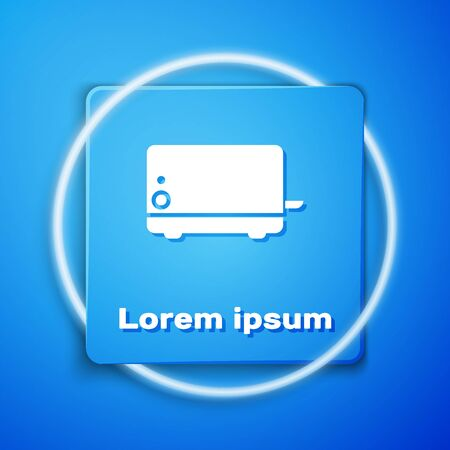 White Toaster icon isolated on blue background. Blue square button. Vector Illustration