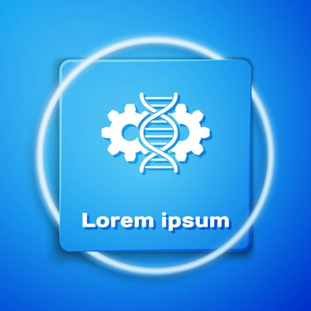White Gene editing icon isolated on blue background. Genetic engineering. DNA researching, research. Blue square button. Vector Illustration
