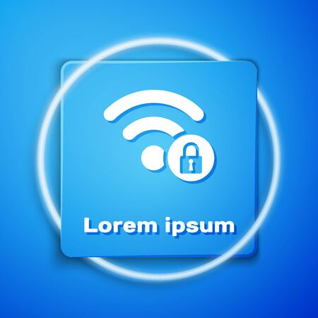White Wifi locked sign icon isolated on blue background. Password Wi-fi symbol. Wireless Network icon. Wifi zone. Blue square button. Vector Illustration Çizim